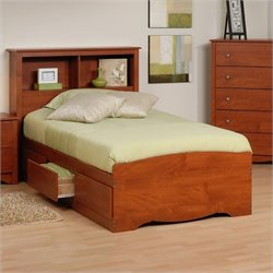 Twin Platform Storage Bed with Headboard in Cherry