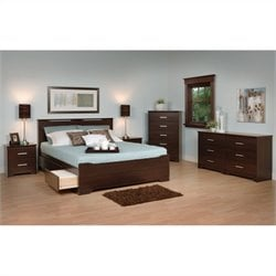 Prepac Coal Harbor 5-Piece Queen Bedroom Set in Espresso