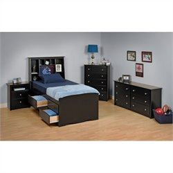 Prepac Sonoma 4-Piece Twin Youth Tall Bedroom Set in Black