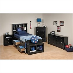 Prepac Sonoma 5-Piece Twin Youth Tall Bedroom Set in Black