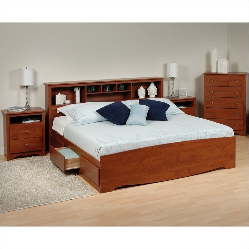 Prepac Monterey 4-Piece King Bedroom Set in Cherry