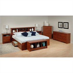 Prepac Monterey 6-Piece King Bedroom Set in Cherry