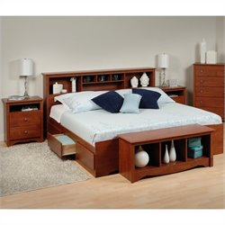 Prepac Monterey 4-Piece King Bedroom Set with Storage Bench in Cherry