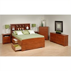 Prepac Monterey 5-Piece Tall Queen Bedroom Set in Cherry