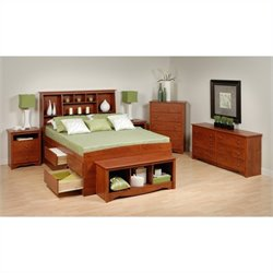 Prepac Monterey 6-Piece Tall Queen Bedroom Set in Cherry