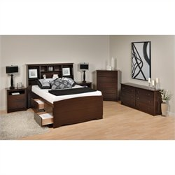 Prepac Fremont 5-Piece Tall Full / Double Bedroom Set in Espresso