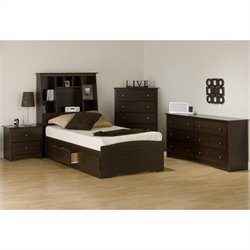 Prepac Fremont 4-Piece Tall Twin Bedroom Set in Espresso