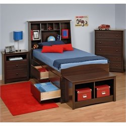 Prepac Fremont 4-Piece Tall Twin Bedroom Set with Bench in Espresso