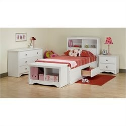 Prepac Monterey 4-Piece Twin Youth Bedroom Set in White