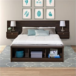Prepac Series 9 Designer Platform Storage Bed with Floating Headboard in Espresso
