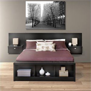Platform Storage Bed with Floating Headboard in Black