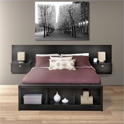 Prepac Series 9 Platform Storage Bed with Floating Headboard in Black - Queen