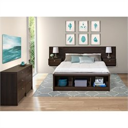 Prepac Series 9 Designer 3-Piece Bedroom Set with Dresser in Espresso
