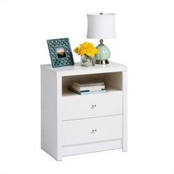 Prepac Calla Tall 2-Drawer Nightstand in White Laminate