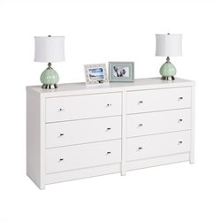 6-Drawer Dresser in White Laminate
