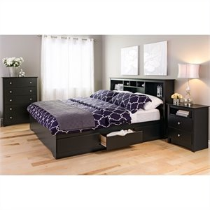 King 4 Piece Bedroom Set in Black