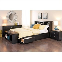 Prepac Sonoma Queen 5 Piece Bedroom Set in Black