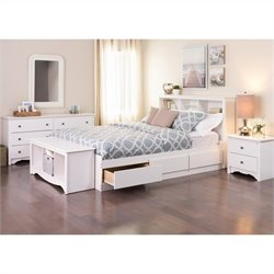 Prepac Monterey Queen 5 Piece Bedroom Set in White