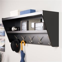 Prepac Floating Entryway Shelf and Coat Rack in Black