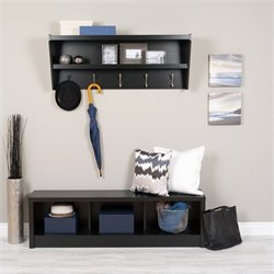 Prepac Floating Entryway Shelf with Bench in Black