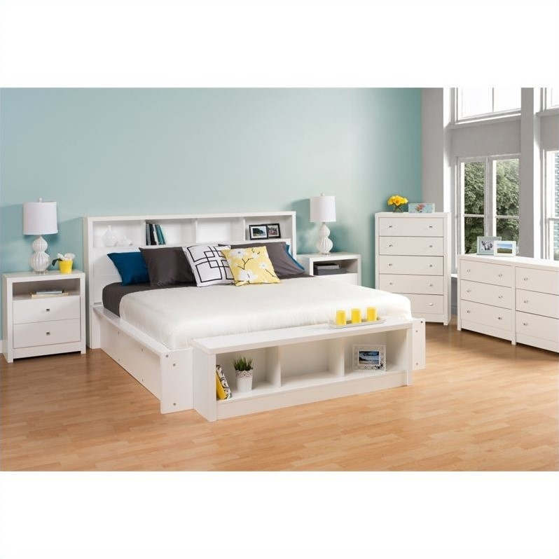 Prepac Calla Platform Bed in White Laminate