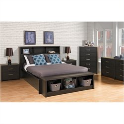 Prepac District 7 Piece Platform Bedroom Set in Washed Black