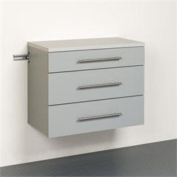 Prepac HangUps 3-Drawer Base Storage Cabinet in Light Grey Laminate