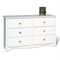 White Condo Sized 6 Drawer Double Dresser