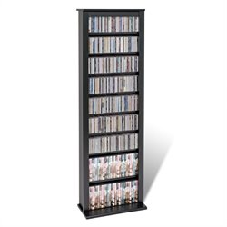 Prepac Slim Barrister CD DVD Media Storage Tower in Black