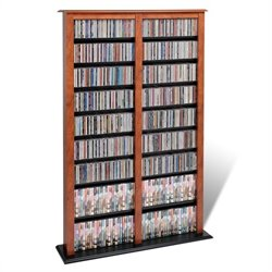 Prepac Double Width Barrister CD DVD Media Storage Tower in Cherry and Black