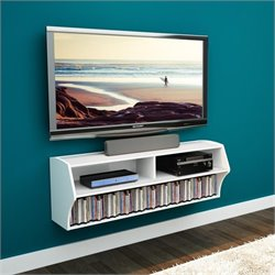 Prepac Altus Wall Mounted Audio and Video Console in White
