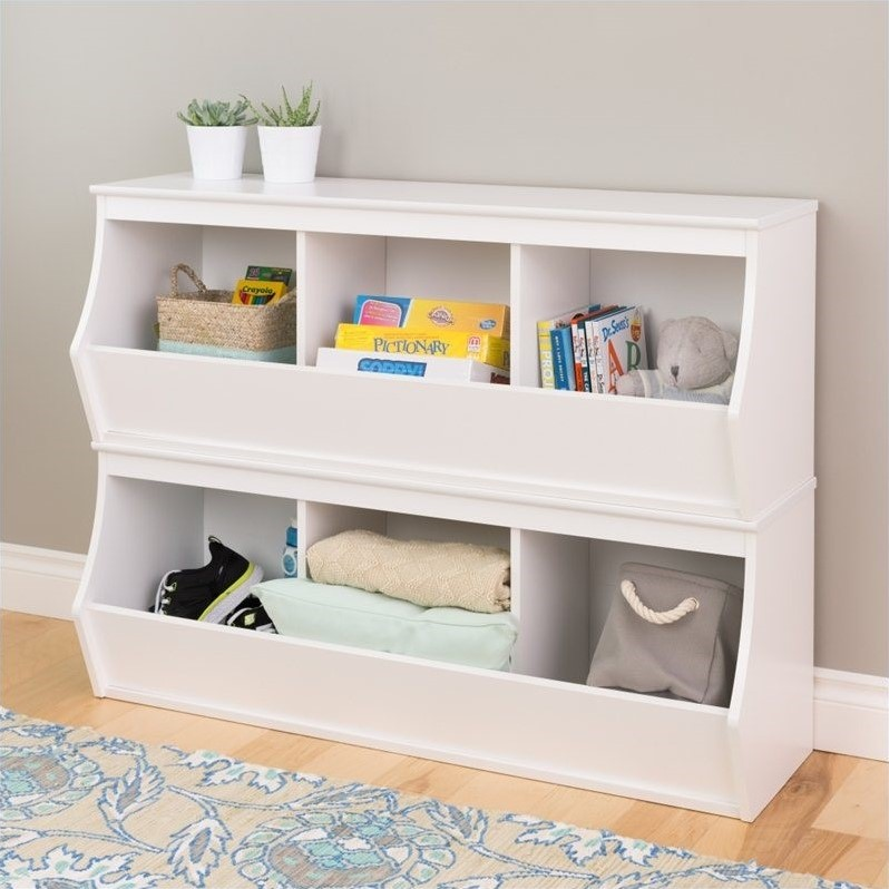 Stacked 6-Bin Storage Cubby in White