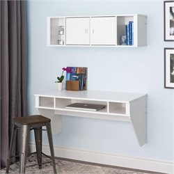 Designer Floating Desk and Hutch Set in White