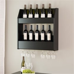 Prepac 24 Bottle Wall Mount Wine Rack in Black