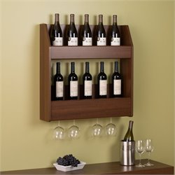 24 Bottle Wall Mount Wine Rack in Warm Cherry