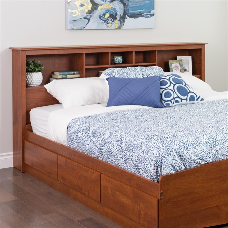 Prepac Monterey King Bookcase Headboard in Cherry