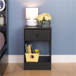 Prepac Astrid 1 Drawer Nightstand in Black