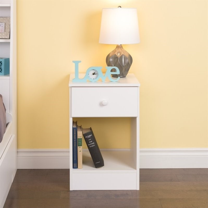 Tall 1 drawer nightstand in white wdnh 0401 1 for Extra tall nightstands