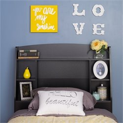 Prepac Astrid Twin Bookcase Headboard in Black