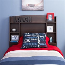 Prepac Astrid Twin Bookcase Headboard in Espresso