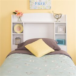 Prepac Astrid Twin Bookcase Headboard in White
