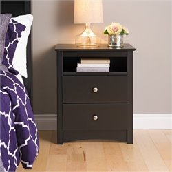 Prepac Sonoma Black Tall 2 Drawer Night Stand