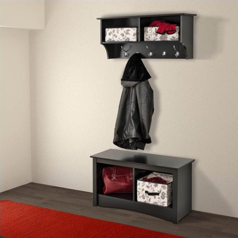 Prepac Sonoma Black Twin Cubby Bench