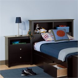 Black Twin Wood Bookcase Headboard 2 Piece Bedroom Set