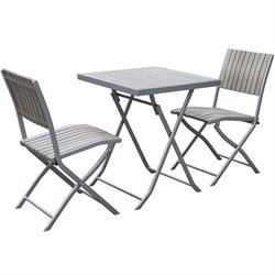 CorLiving Gallant 3 Piece Folding Patio Bistro Set in Bleached Gray