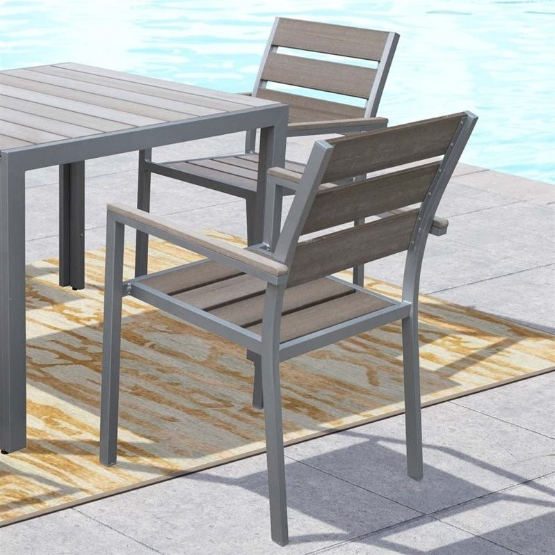 CorLiving Gallant Patio Dining Chair in Sun Bleached Gray (Set of 2)