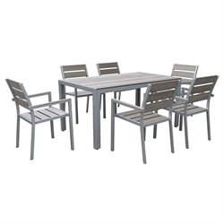 7 Piece Patio Dining Set in Sun Bleached Gray