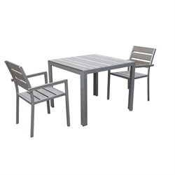 3 Piece Square Patio Dining Set in Sun Bleached Gray