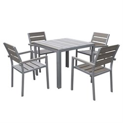 5 Piece Square Patio Dining Set in Sun Bleached Gray