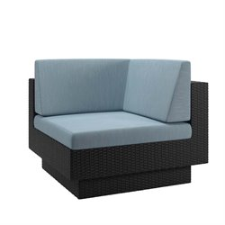 Corner Patio Chair in Black Weave and Teal